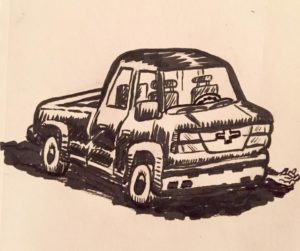 Day 31. Truck. August 18. I've never felt competent at drawing machinery, preferring organic, natural characters to the cold, repetitive lines of machine-made objects. Thought I'd step out of my comfort zone a bit. Still, I had to put a person in there somewhere, otherwise the art tells no story. I chose brush and ink because color can distract from a whole lot of structural errors. I wanted to be able to focus on the bones so I can see the half dozen or so problems with this, but I think at least my style shows through, despite there being (almost) no creatures involved.