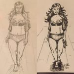 "Day 7. Ashley Graham. A little ""before and after."" Pencils, then inks. Wanted to draw a real woman; not a stick with boobs. Ashley Graham was the perfect choice. Va-voom!"
